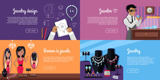 Jewelry Design, Jeweler, Women in Jewels Banner Stock Images