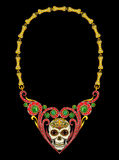Jewelry design skull heart necklace day of the dead. Art design jewelry skull head mix heart vintage and gems day of the dead festival hand pencil drawing and royalty free stock image