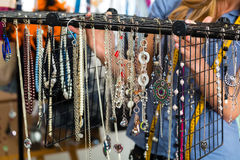 Jewelry designer with pieces of collection Stock Photo