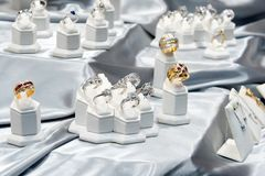 Jewelry diamond rings show in luxury retail store window display showcase. Jewelry dond rings show in luxury retail store window display showcase stock photos