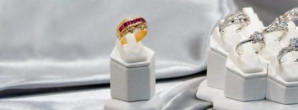 Jewelry diamond rings show in luxury retail store window display showcase.  royalty free stock photos