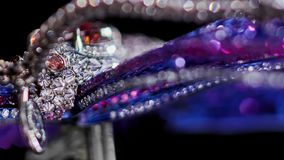 Jewelry with diamonds, extreme close up, not 3D, it`s video shooting only. stock video footage