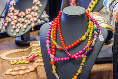 Jewelry on display. Small local fashion shop in Dewonport, Auckland, New Zealand Stock Photos