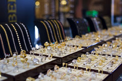 Jewelry display. In one of shopping centers in Dubai royalty free stock photos
