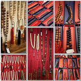 Jewelry displays. A set of images of different beaded jewelry displays Royalty Free Stock Photos