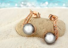 Jewelry earrings with black pearls on sand beach background Stock Image
