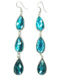 Jewelry earrings with blue crystals Stock Photos
