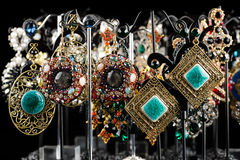 Jewelry earrings with gems Stock Photography