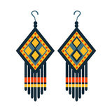 Jewelry Earrings For Woman, Native American Indian Culture Symbol, Ethnic Object From North America Isolated Icon Stock Photos