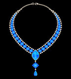 Jewelry female necklace with blue jewels Stock Photography