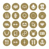 Jewelry flat glyph icons, jewellery store signs. Jewels accessories - gold engagement rings, gem earrings, silver chain. Necklaces, brilliants. Solid royalty free illustration