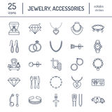 Jewelry flat line icons, jewellery store signs. Jewels accessories - gold engagement rings, gem earrings, silver chain Royalty Free Stock Image