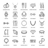 Jewelry flat line icons, jewellery store signs. Jewels accessories Stock Photography