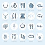 Jewelry flat line icons, jewellery store signs. Jewels accessories - gold engagement rings, gem earrings, silver chain Stock Photo