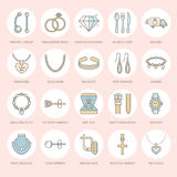 Jewelry flat line icons, jewellery store signs. Jewels accessories  Royalty Free Stock Photo
