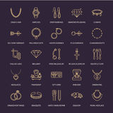 Jewelry flat line icons, jewellery store signs. Jewels accessories - gold engagement rings, gem earrings, silver chain. Engraving necklaces, brilliants. Thin stock illustration