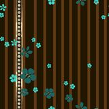 Many small turquoise flowers and gold stripe with diamonds. stock illustration
