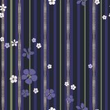 Abstract white and purple flowers and gold strips with diamonds. vector illustration