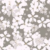 Big and small white and gray flowers with gold core on ashen background. stock illustration