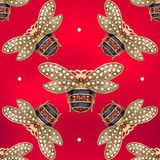 Jewelry of a fly on a red background. Seamless pattern of jewelry fly on a red background vector illustration