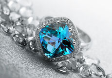 Jewelry gems and topaz ring Stock Photo