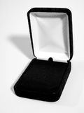 Jewelry gift box. Black velvet box for jewelry royalty free stock photo