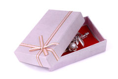 Jewelry gift box wrapped isolated Royalty Free Stock Photo