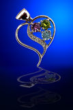 Jewelry on glass. Jewels from white gold with brilliants on dark blue glass stock photos