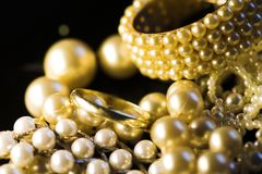 Jewelry: Gold And Pearls Royalty Free Stock Photos