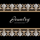 Jewelry gold border frame. Vintage gold jewelry frame with seamless diamond borders on black royalty free illustration