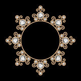 Jewelry gold circle frame Stock Image