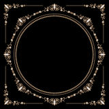 Jewelry gold round frame Stock Photos