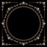 Jewelry gold round frame Stock Photos