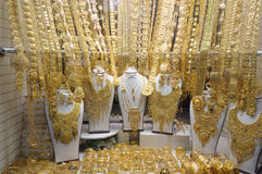 Jewelry at Gold Souq in Dubai. United Arab Emirates stock images