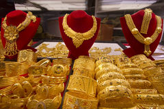 Jewelry at Gold Souq in Dubai Stock Photo