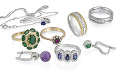 Jewelry group isolated royalty free stock image