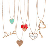 Jewelry heart chains Royalty Free Stock Image