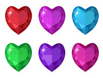 Jewelry heart set. Gemstones hearts shaped collection. Royalty Free Stock Photos