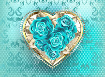 Jewelry heart with turquoise roses royalty free illustration