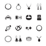 Jewelry icon black. Jewelry black icons set of diamond gold fashion expensive accessories isolated vector illustration vector illustration