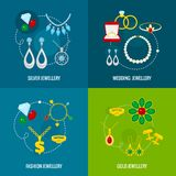 Jewelry icon flat set Stock Photo