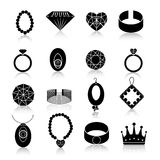 Jewelry icon set black Royalty Free Stock Images