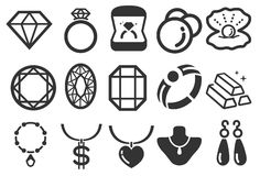 Jewelry icons Royalty Free Stock Photography