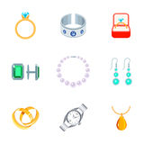 Jewelry Icons Flat Royalty Free Stock Photos