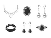 Jewelry icons set Stock Photo