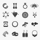 Jewelry icons. Set of jewelry icons. Earrings and rings, cufflinks and necklaces. Vector illustration stock illustration