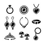 Jewelry icons. Set of jewelry icons in vector Royalty Free Stock Photos