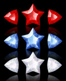 Jewelry icons of stars and arrows. Red, blue, white Royalty Free Stock Image