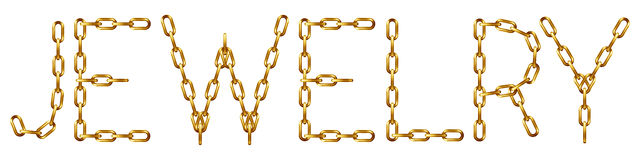 Jewelry inscription with the letters made from golden chain Royalty Free Stock Photos