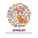 Jewelry items collection in round shape on white Stock Photos
